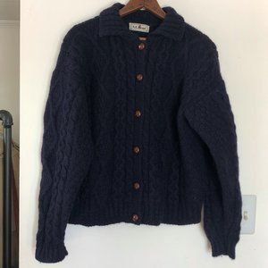 Vintage LL Bean Cable Knit Cardigan Sweater Large